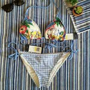 Tommy Hilfiger M New Bikini Set Gingham Blue